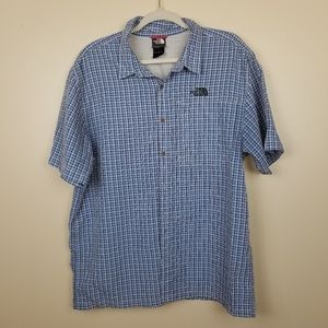 Mens The North Face Blue Plaid Button Down Shirt